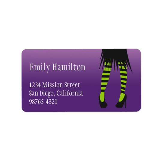 Fashion witch costume stripe leg Halloween address Label