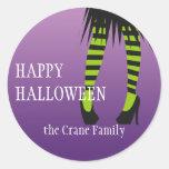 Fashion witch costume stripe legs Halloween label Round Sticker