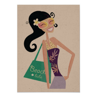 Fashion woman greeting on recycle Paper Card