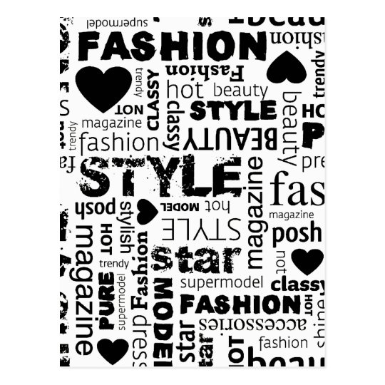 Fashion Word Collage Vector Illustration - alt Postcard