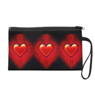 Fashion wristlet bag red black hearts