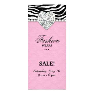Fashion Zebra Jewels Pearl Heart Lace Pink Rack Card Design