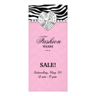 Fashion Zebra Jewels Pearl Heart Lace Pink Rack Card Design