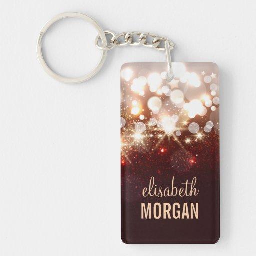 Fashionable and Stylish Gold Glitter Sparkle Rectangle Acrylic Keychains