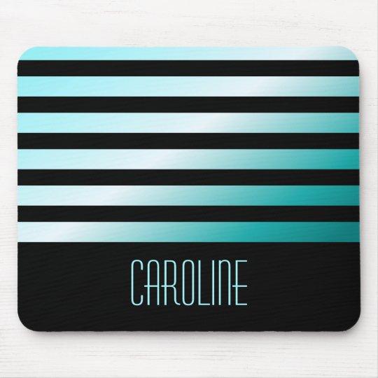 Fashionable aqua blue stripes black personalised mouse pad