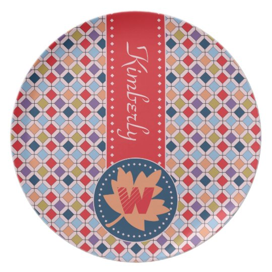 Fashionable Autumn Fall Geometric Pattern Monogram Plate