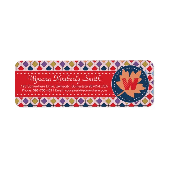 Fashionable Autumn Fall Geometric Pattern Monogram Return Address Label