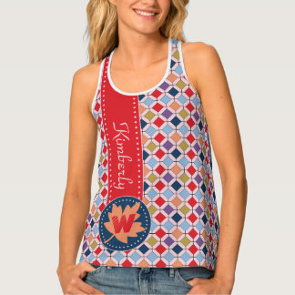 Fashionable Autumn Fall Geometric Pattern Monogram Tank Top