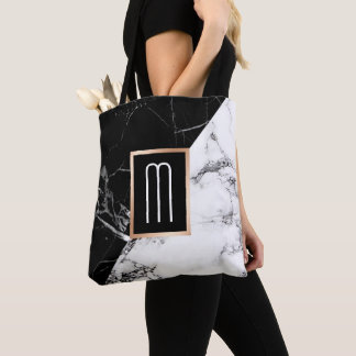 Fashionable Black White Marble Texture Monogram Tote Bag