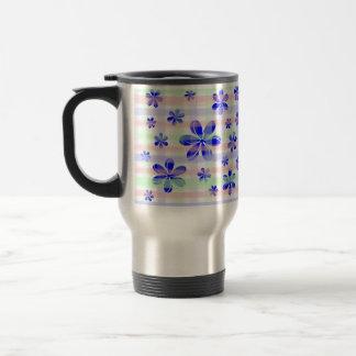 Fashionable Blue Flower with brushed pastel stripe Stainless Steel Travel Mug
