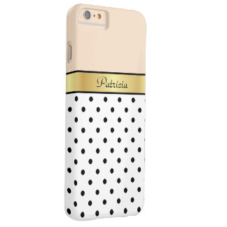 Fashionable, Chic Linen Peach Polka Dots. Elegant Barely There iPhone 6 Plus Case
