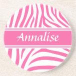 Fashionable customisable Pink white zebra pattern Coasters