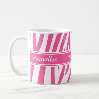 Fashionable customizable Pink white zebra pattern Basic White Mug