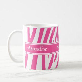 Fashionable customizable Pink white zebra pattern Mugs