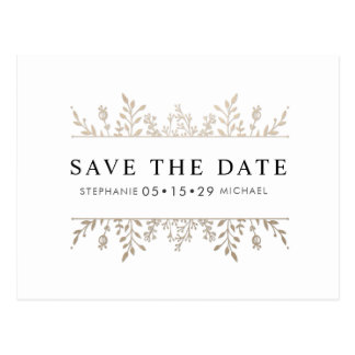 Fashionable Elegant Rose Gold Chic Save the Date Postcard