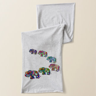 Fashionable ethno psychedelic vibrant elephants scarf