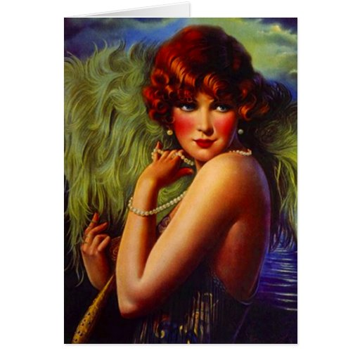 Fashionable Flapper Girl ~ Evening At the Beach Card