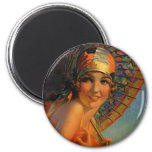Fashionable Flapper Girl w/ Parasol & Cloche Refrigerator Magnet