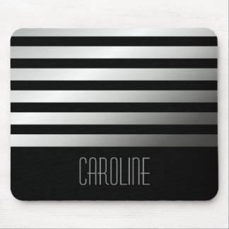 Fashionable gray stripes black personalized mouse pad