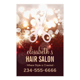 Fashionable Hair Stylist - Gold Glitter Sparkle Flyer Design