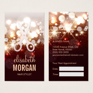 Fashionable Hair Stylist Gold Sparkle Appointment Business Card