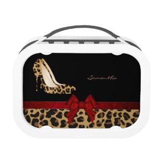 Fashionable Jaguar Print Stilettos Personalized Lunch Box