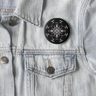 Fashionable kaleidoscope flower 6 cm round badge