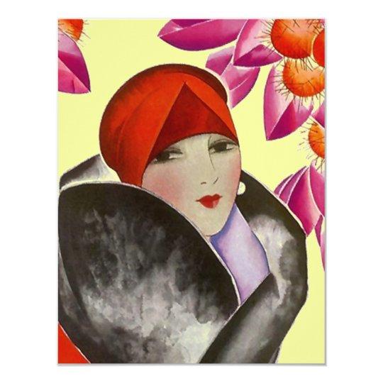 Fashionable Lady Inviation Brunch Afternoon Tea Card