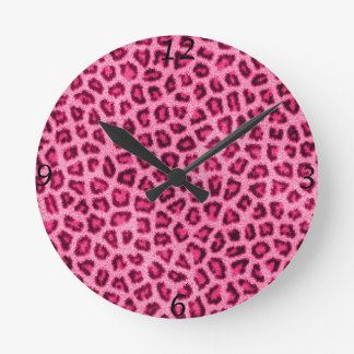 Fashionable leopard skin fluffy fur effect round clock
