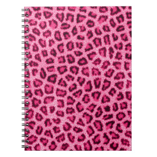 Fashionable leopard skin fluffy fur effect spiral notebook