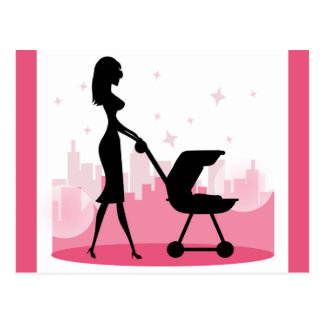Fashionable Mommy Pushing Baby Carriage Postcard