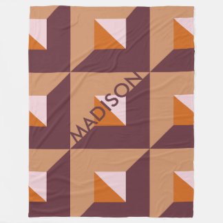 Fashionable Muted Autumn Trending Colors Monogram Fleece Blanket