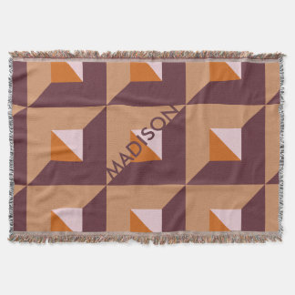 Fashionable Muted Autumn Trending Colors Monogram Throw Blanket