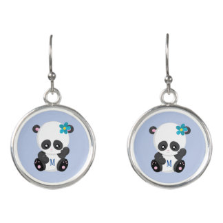 Fashionable Panda Blue Monogram Earrings