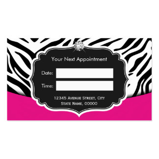 Fashionable Pink Black Zebra Print Appointment Pack Of Standard Business Cards