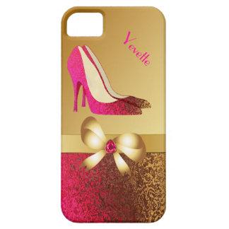 Fashionable Pink & Gold Tone Stiletto iPhone 5 Case