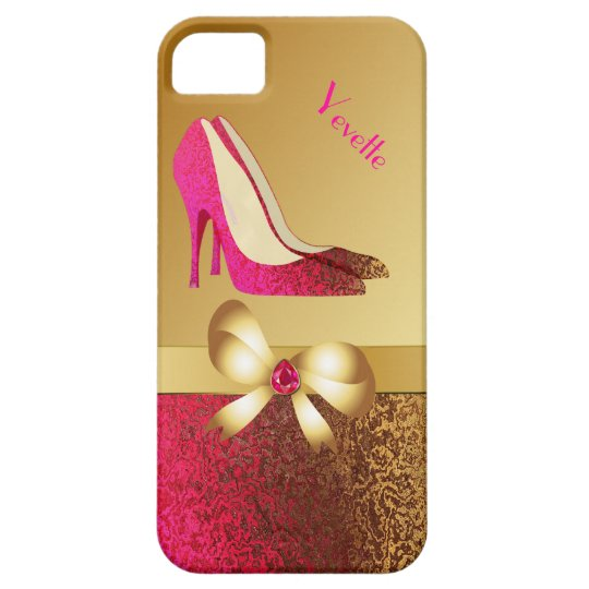 Fashionable Pink & Gold Tone Stiletto iPhone 5 Case