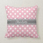 Fashionable Pink Polka Dots and Lace Throw Cushions