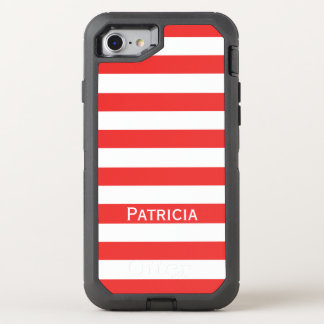 Fashionable Red And White Striped. It! OtterBox Defender iPhone 7 Case