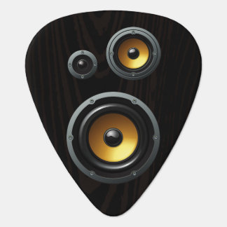 Fashionable Retro Wood Grain Speaker Trio Guitar Pick