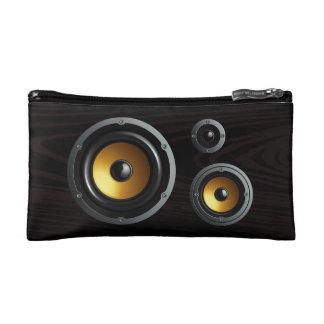 Fashionable Retro Wood Grain Speaker Trio Makeup Bags