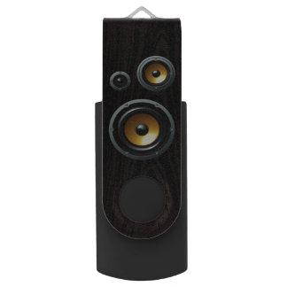 Fashionable Retro Wood Grain Speaker Trio USB Flash Drive
