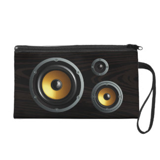 Fashionable Retro Wood Grain Speaker Trio Wristlet Clutches