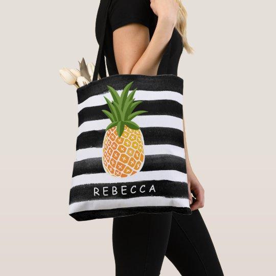Fashionable Tropical Pineapple Black White Stripes Tote Bag