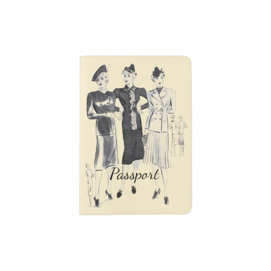 Fashionable vintage picture passport holder