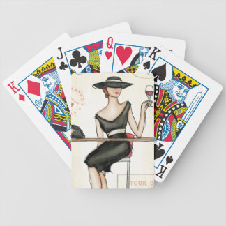 Fashionable Woman and Wine Glass Bicycle Playing Cards