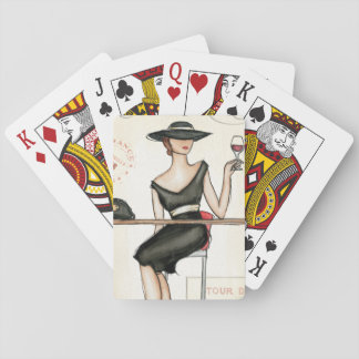 Fashionable Woman and Wine Glass Playing Cards
