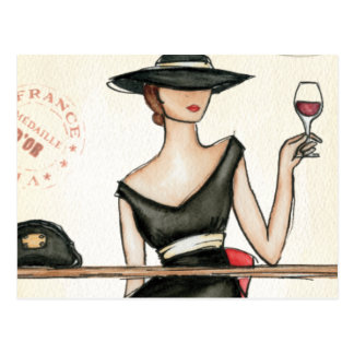 Fashionable Woman and Wine Glass Postcard