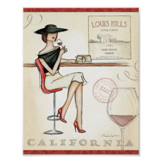 Fashionable Woman Drinking Wine Poster