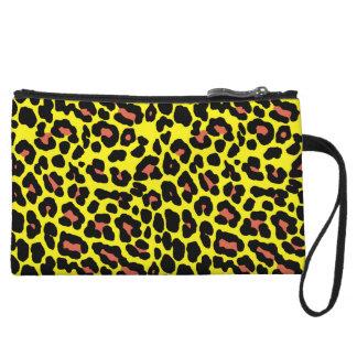 Fashionable yellow and orange leopard print patter wristlet